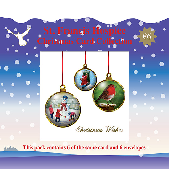 Christmas Card Baubles (6 cards) Blue